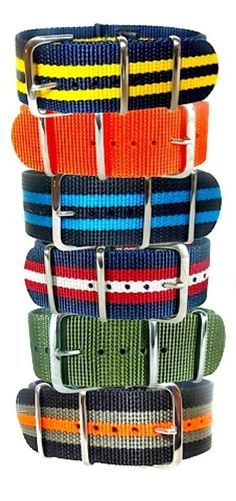 a tower of NATO style watch straps