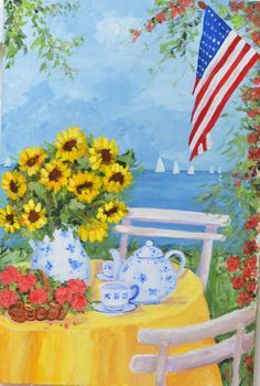 Finding Inspiration In My Garden by merle Rooster Painting, Flag Painting, Rooster Art, Oil Painting On Canvas, Christmas Plants, Green Garland, Painted Cottage, Coastal Cottage, Coastal Art