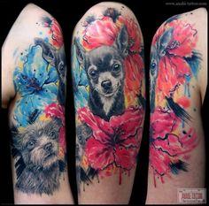 Dogs & flowers tattoo. Fantastic!!