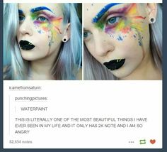 It's BEAUTIFUL, but if it's watercolor is it actually safe to put around your eyes?<< I think it's actually makeup that was applied to look like watercolor. Cosplay Make-up, Makeup Art, Hair Makeup, Makeup Ideas, Horror Make-up, Pics Art, Looks Cool, Tumblr Funny, Belle Photo