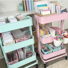 60 Smart Ways To Use IKEA Raskog Cart For Home Storage - DigsDigs - 14 room decor Pastel mint ideas Dorm Room Organization, Organization Hacks, Stationary Organization, Organizing Tips, Organization Ideas For Bedrooms, Organising, Teen Room Storage, Small Office Organization, Bedroom Storage Ideas For Clothes
