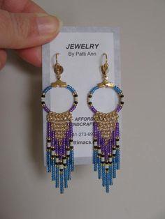 Seed Bead Hoop Chain Earrings Purple/Light Sapphire by pattimacs, $20.00