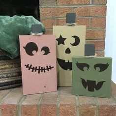 I have a love for pumpkin decor this time of year and I have been seeing DIY pumpkins all over, so I decided to use some of our scrap wood to make a set of wood pumpkins. I used vinyl to make removable jack-o-lantern faces so they can be used all season long!