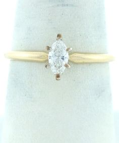 $285 14K GOLD .22 MARQUISE DIAMOND ENGAGEMENT SOLITAIRE RING