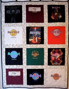 Hard Rockers! If you like all things Hard Rock Cafe, you will LOVE this one of a kind quilt! We have been collecting Hard Rock t shirts for more