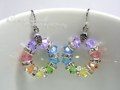Swarovski Crystal Rondelle Earrings, Sweet Rainbow Swarovski Crystal Earrings (E018-02).