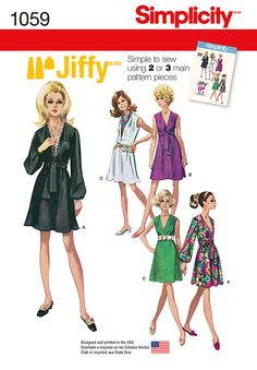 Sew this great Jiffy dress from 1969 featuring 2 or 3 main pattern pieces. Simplicity pattern 1059 includes v-neck dress with long sleeves, or sleeveless and optional sash or scarf.