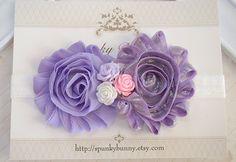 Purple Shabby Chic Headband  Lavender Shabby Flower by SpunkyBunny, $8.50
