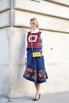 PFW Day One: Helena Bordon wearing a Miu Miu top, Céline skirt and Fendi bag