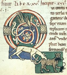 Detail of an historiated initial 'O' (vi) of a dog catching a cat catching mice; from Gregory the Great, Moralia in Job, Germany (Arnstein), 2nd half of the 12th century, Harley MS 3053, f. 56v.