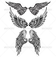 Wings — AI Illustrator #vector #tattoo • Available here → https://graphicriver.net/item/wings/7286583?ref=pxcr