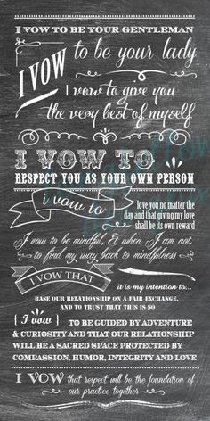 Customized Wedding Vows - Chalkboard Look Print - 10 x 20. $50.00, via Etsy.