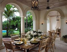 Palm Beach loggia - beautiful details (ceiling, fireplace…). David Kleinberg Design Associates. Outdoor #dining