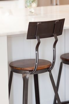 Hudson Counter StoolIndustrial counterstool metal and wood counterstool metal and wood industrial counterstool source on Home Bunch Pub Stools, Wood Counter Stools, Modern Farmhouse Interiors, Farmhouse Design, Dining Room Furniture, Dining Rooms, Rooms Home Decor, Room Decor, Dining Room Lighting