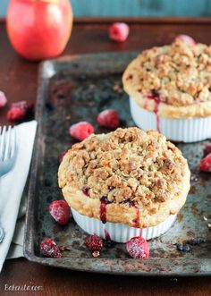 These Mini Apple Berry Crumble Pies are bursting with tart, juicy berries and tender apple slices, topped with a delectably crunchy crumble topping! Serve with ice cream for the best treat.