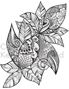 Instant PDF Download Coloring Page Hand Drawn Leaf Patterns Mandala Zendoodle