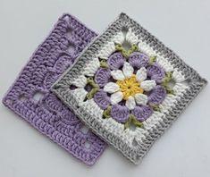 Crochet Square Blanket, Baby Afghan Crochet, Crochet Blocks, Granny Square Crochet Pattern, Crochet Flower Patterns, Crochet Diagram, Crochet Squares, Crochet Motif, Crochet Flowers
