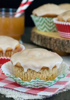 Glazed Apple Cider Muffins - these muffins are full of apple cider goodness. The glazed tops keep the muffins super soft and delicious.