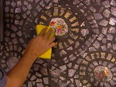 how to use broken dishes to make a  mosaic kitchen backsplash