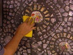 how to use broken dishes to make a  mosaic kitchen backsplash