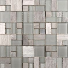 Deep Gray Glass/Stone Pattern Mosaic Blend