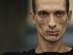 """Petr Pavlensky sewed his mouth shut outside St Petersburg's Kazan Cathedral to protest against the jailing of the punk protest group Pussy Riot (""""Stitch"""") Cool Art, Awesome Art, Halloween Face Makeup, Politics, Makeup Ideas, Google, Cathedral, Art Projects, Dads"""