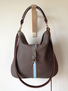 Taupe leather handbag with aqua stripe by tissuhandbags on Etsy, $450.00