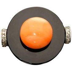 1920s Art Deco Coral Onyx Diamond Gold Ring | From a unique collection of vintage more rings at https://www.1stdibs.com/jewelry/rings/more-rings/