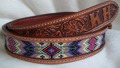 Beaded Leather Belt by Deesbeadeddogcollars on Etsy, $170.00