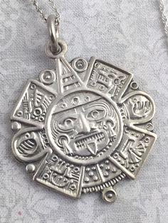 Mexico sterling silver bracelet aztec calendar carved amethyst vintage 925 sterling silver mayan aztec sun calendar pendant necklace 22 ebay aloadofball Image collections