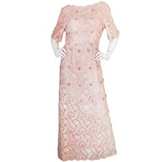 1960s Hand Beaded Maggie Reeves Couture Gown | From a collection of rare vintage evening dresses at https://www.1stdibs.com/fashion/clothing/evening-dresses/