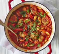 Spanish meatball & butter bean stew This hearty one-pot is full of Mediterranean flavour, with pork, red onion, peppers and smoked paprika - an impressive 4 of your 5 a day Gluten Free Recipes For Dinner, Bbc Good Food Recipes, Pork Recipes, Easy Dinner Recipes, Healthy Dinner Recipes, Diet Recipes, Cooking Recipes, Delicious Recipes, 5 A Day Recipes
