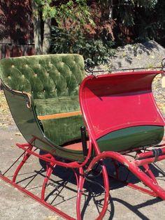 Antique Restored Portland Cutter Horse Drawn Sleigh Holiday Sled #primitive #CortlandCartCarriageCoSidneyNY