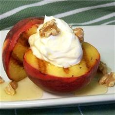 Grilled Peaches and Cream: A simple, healthy-ish desert for grilling season. (For indoor cooking, I've had great success making this on a George Foreman.)