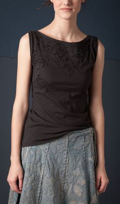 Whispering Rose boatneck top. Handstitched and hand embroidered. Organic. Alabama Chanin