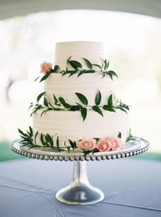 Rustic wedding cake with pink rose and greenery details   JoPhoto on @mtnsidebride via @aislesociety