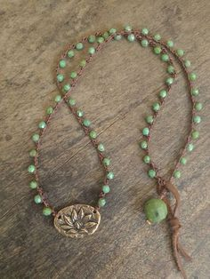 Bronze Lotus Crochet Necklace Knotted Beaded by TwoSilverSisters