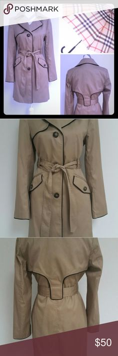 NWOT: H&M Beige Trench Coat with Brown Piping. 8 🌟NWOT: Tan Classic Trench Coat with self-tie belt. Brown piping makes this piece unique and sharp. Two front pockets.  Interior is fully lined. Slimming design by H&M. Size 8/M.                                       *I've never worn this classy piece because it just doesn't get cold enough here in CA.  Sometimes, I buy things in hopes that I'll have the chance to wear it one day, but never do.... H&M Jackets & Coats Trench Coats