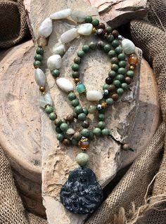 Beautiful Kwan Yin gemstone necklace by look4treasures on Etsy https://www.etsy.com/listing/185178699/beautiful-kwan-yin-gemstone-necklace