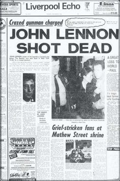 Norton reveals his admiration for John Lennon and gives a gentlemanly twist to his most iconic song. Newspaper Front Pages, Vintage Newspaper, Newspaper Article, History Facts, World History, John Lennon Death, Newspaper Headlines, Drame, Important Dates
