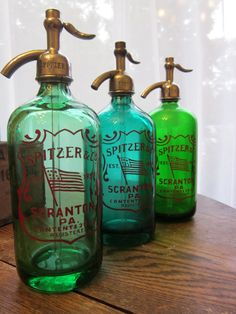 VINTAGE Spitzer Seltzer Bottle with Red Painted by SunSpotBottleCo, $50.00