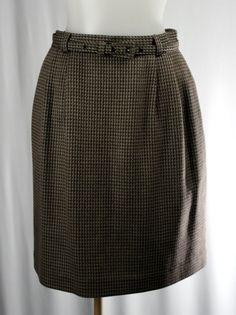 LIZ CLAIBORNE 4 Petite Brown Houndstooth Pencil Skirt #LizClaiborne #StraightPencil