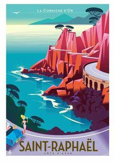 Travel Poster - Saint-Raphaël - Le massif de l'Estérel et sa Corniche.- France - by Richard Zielenkiewicz.