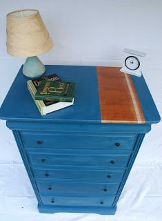 Tall Cheat of Drawers with Natural Wood Stripe in Annie Sloan Aubusson Blue £285 available to buy on Etsy