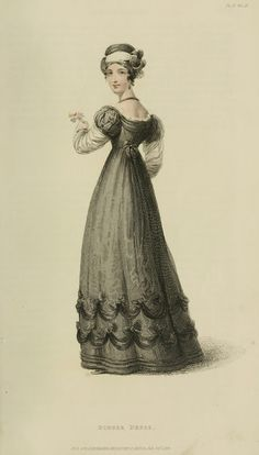 Back view of mourning gown, 1824 Ackermann