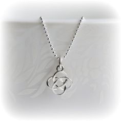 Silver Celtic Knot Necklace, Love Knot Charm Necklace, Sterling Silver Necklace, Solid Silver Jewelry, Gift for her, Made by Blissaria   ✭ The Sterling Silver beaded necklace is 16 in length - you can choose style/length in options upon purchase ✭ The celtic knot charm measures 14mm top to bottom  Gorgeous matching Earrings available here: https://www.etsy.com/listing/256418027  Please always double check measurements if you are at all unsure - and remember that photo...
