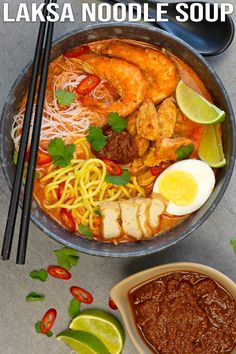 A quick and easy way to enjoy a bowl of delicious red curry laksa noodle soup. The spicy soup enriched with coconut milk is just so flavourful. This quick me. Laksa Soup, Curry Laksa, Spicy Soup, Sour Soup, Easy Asian Recipes, Healthy Recipes, Ethnic Recipes, Curry Recipes, Cooking Recipes