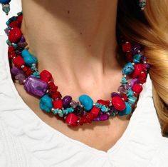 Vibrant gemstones! Turquoise, amethyst, and coral. Enough said...the necklace can speak for itself... ;-) https://www.etsy.com/listing/101348913/gemstones-petite-twisted-statement