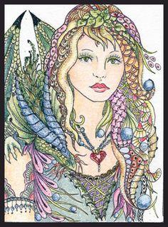 Photo Gallery: Zentangles » ZIA - Zentangle Inspired Art » Glitter Dragon Fairy