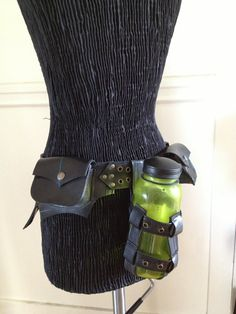 Recycled Bike inner tube Bottle Holder Adjustable Belt Beer Water Wine Burning Man Eco Friendly Upcycled Rubber Post Apocalyptic Utility